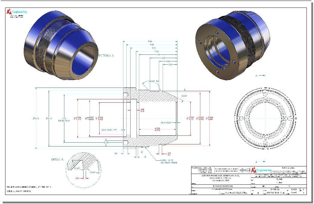 Hydraulic Cylinder Gland Drawing