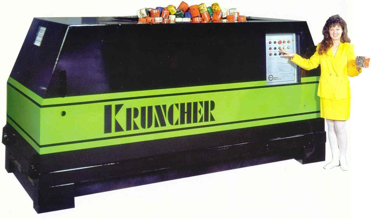 Kruncher for Oil Filters, Food Cans, Paint Cans, Spray Cans etc Separating Their Content from the Metal for Recycling Needs