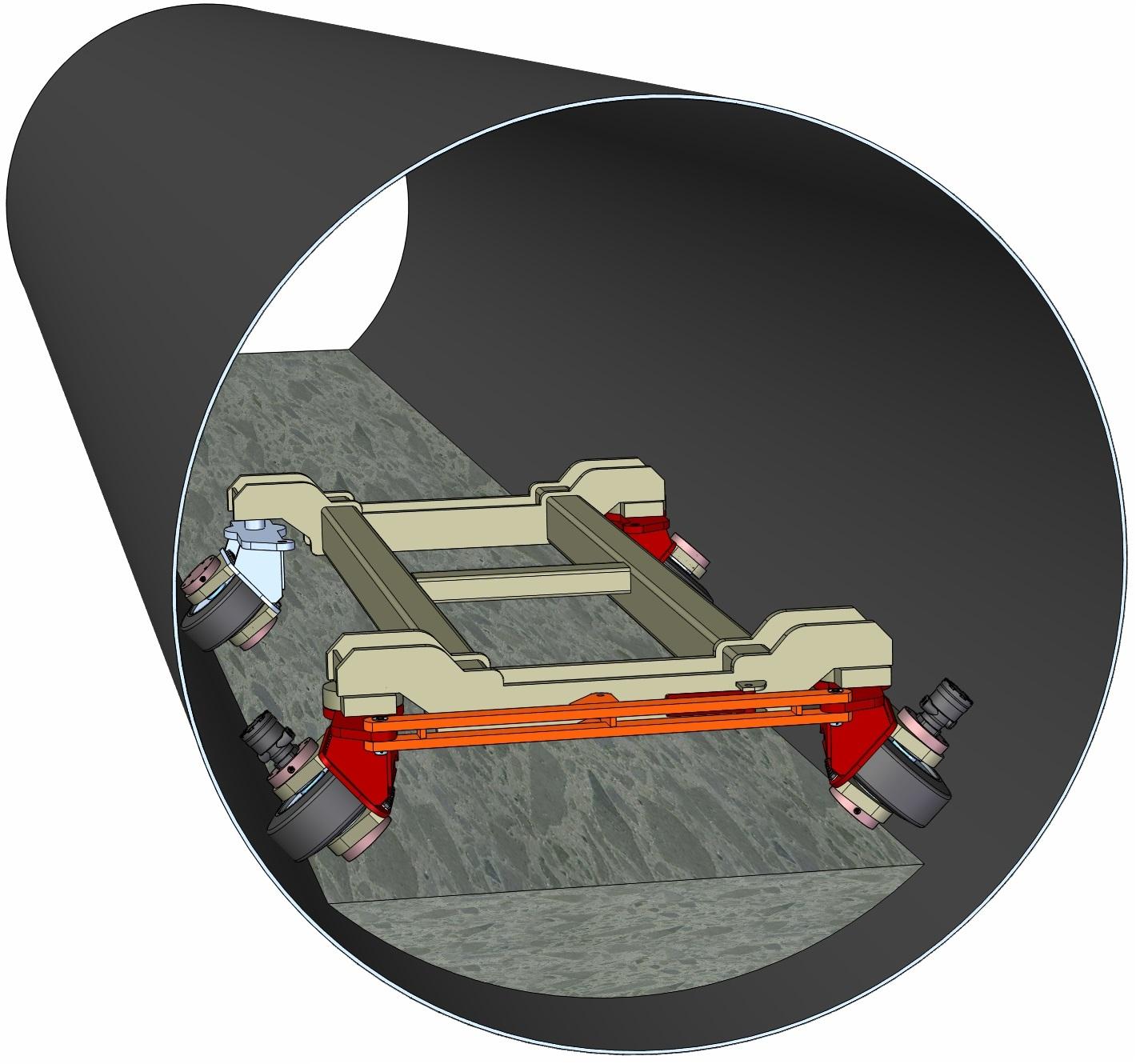 Self-propelled Concrete Bucket Carrier to Deposit Concrete Floor in 120 Inch Diameter Steel Pipe Tunnel